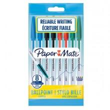 Busta 8 penne a sfera con cappuccio PaperMate 045 punta 1,0mm colori assortiti