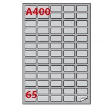 Etichetta Adesiva A/400 Argento 100Fg A4 Laser 38,1X21,2Mm (65Et/Fg) Markin