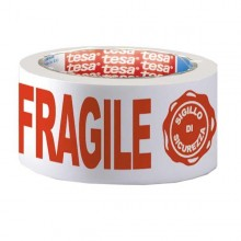 Nastro Adesivo Ppl 66Mtx50Mm Fragile Con Sigillo Sicurezza 7024 Tesa
