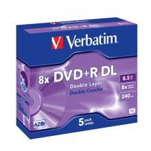 Scatola 5 Dvd+R Dual Layer 8X 8.5Gb 240Min. Serigrafato Jewel Case