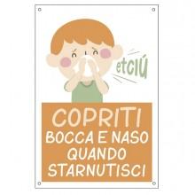 """Cartello alluminio 20x30cm """"Copriti bocca e naso quando starnutisci"""" per bambini"""