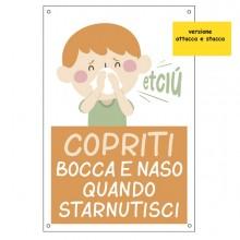 """Etichetta autoad. 20x30cm """"Copriti bocca e naso quando starnutisci"""" per bambini"""
