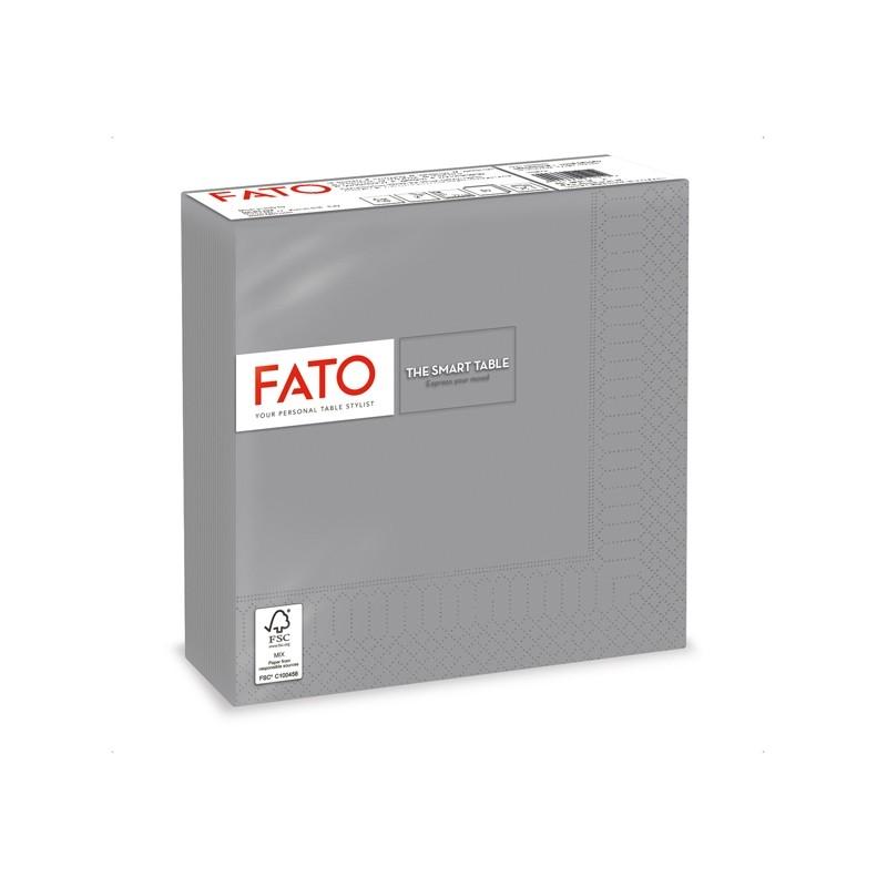 50 tovaglioli carta 33x33cm 2 Veli Grigio Fato