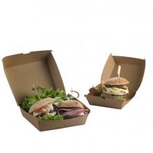50 Scatole per hamburger in carta kraft 16x16x9cm Street Food Leone