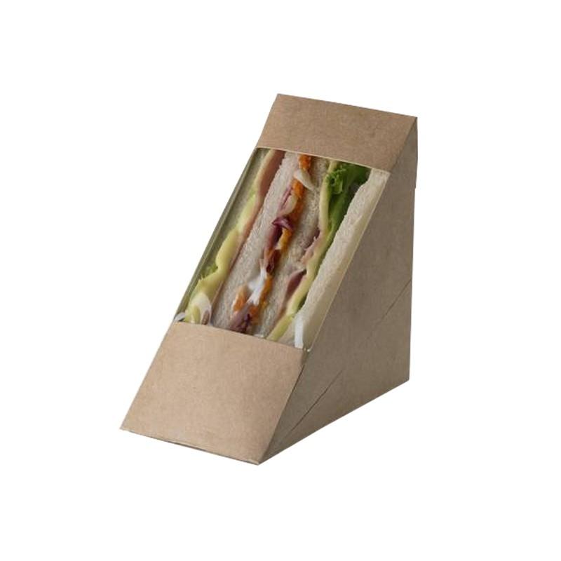 100 Scatole per Sandwich in carta kraft 12,3x7,2x12,3cm Street Food Leone