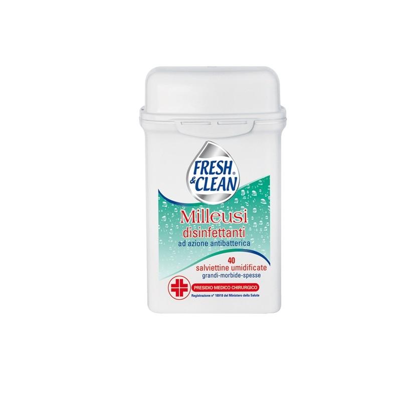 Barattolo da 40 Salviette disinfettanti milleusi con antibatterico FreshClean