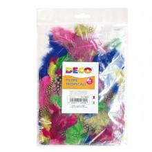 Busta 100 piume tropicali dim. 50-100mm in colori assortiti Cwr
