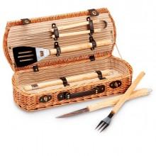 Set Barbecue - 5 attrezzi in valigetta di vimini