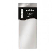 Busta 5 fogli carta velina metallizzata 20gr 50x76cm argento CWR