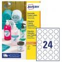 Etichette adesive rotonde rimovibili Ø37mm (24et/fg) 25fg laser/inkjet Avery