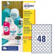 Etichette adesive rotonde rimovibili Ø25mm (48et/fg) 25fg laser/inkjet Avery