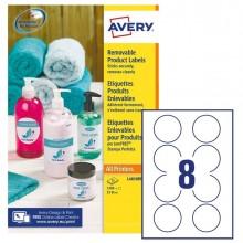 Etichette adesive rotonde rimovibili Ø63,5mm (8et/fg) 25fg laser/inkjet Avery