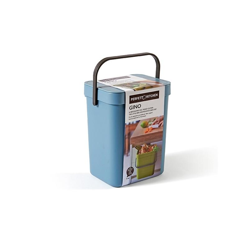 Pattumiera GINO per rifiuti organici azzurro 5 lt Perfetto