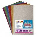 Busta 10 fogli Gomma Crepp Glitter 20x30cm colori assortiti Cwr