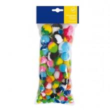 Busta 100 pz pom-pon a strisce dim. 10-35mm in colori assortiti Cwr