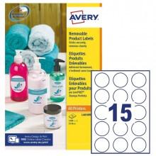 Etichette adesive rotonde rimovibili Ø51mm (15et/fg) 25fg laser/inkjet Avery