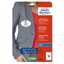 Etichette badge per tessuti ovale 85x50mm (10et/fg) 20fg - inkjet Avery