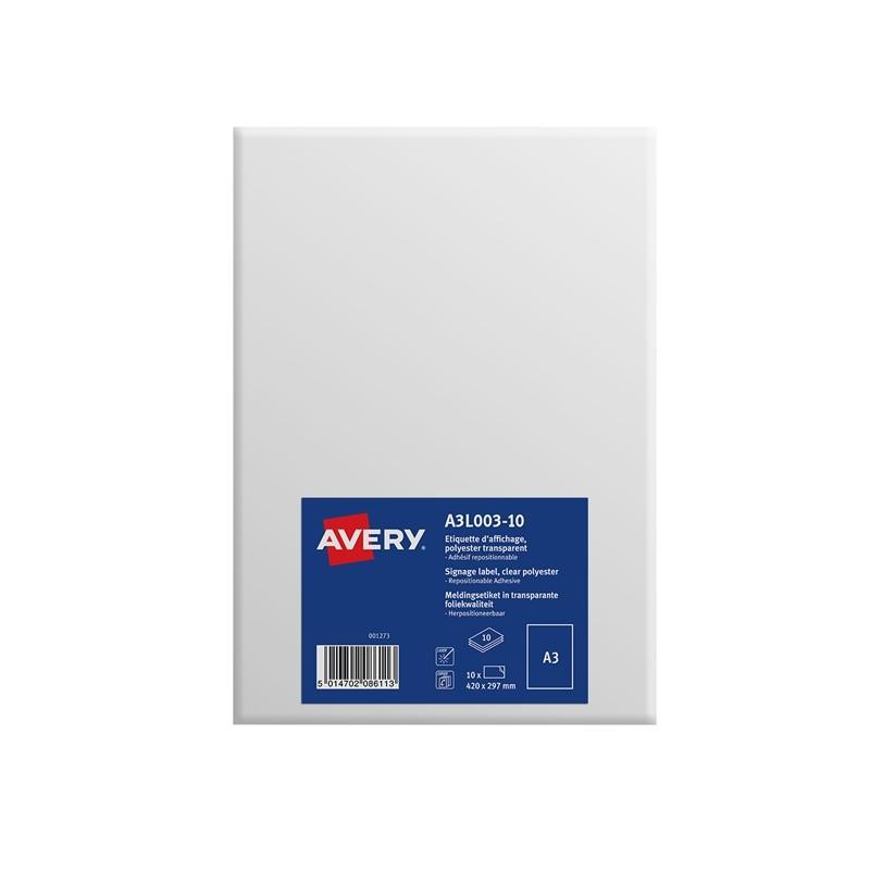 Etichette A3 in poliestere trasparente autoaderenti (1et/fg) 10ff Avery