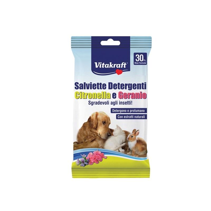 Confezione da 30 salviette citronella e geranio per cani, gatti e roditori