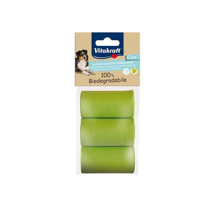 Conf. da 3 rotoli di sacchetti raccoglifeci 100 biodegradabili (20sac. x rot)