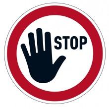 "Pittogramma da pavimento rimovibile ""STOP""Ø 43cm"