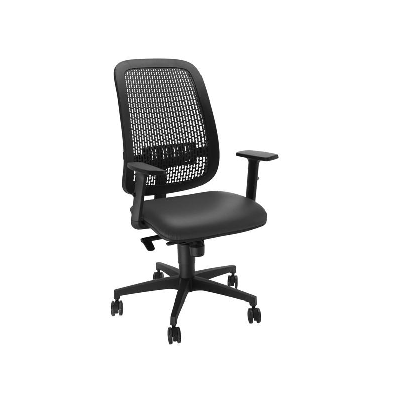 Sedia operativa Equity schienale PP e seduta similpelle nera c/bracc.