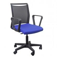 Sedia home/office Smart Light schienale in rete nero seduta blu c/braccioli