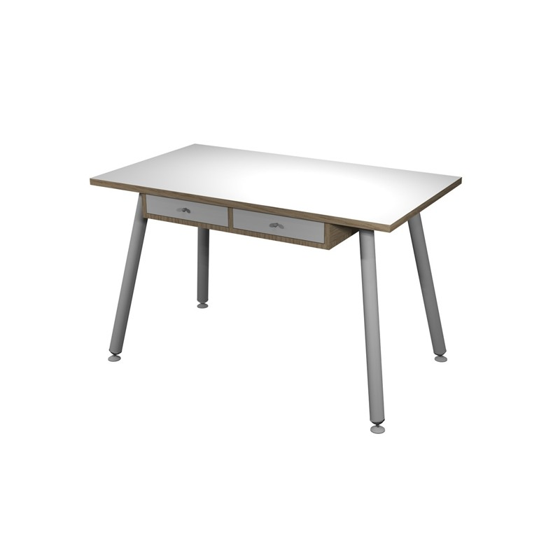 Postazione Home-Office con sottopiano 120x60xH74,4cm gambe metal Bianco/Rovere