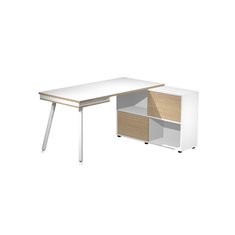 Workstation Midi 130x120xH81,5cm gambe in metallo Bianco/Rovere