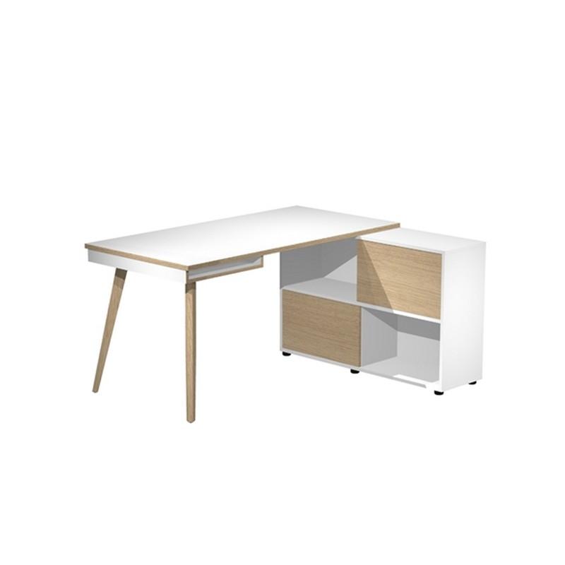 Workstation Midi 130x120xH81,5cm gambe in legno Bianco/Rovere
