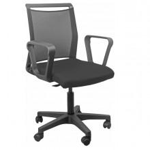 Sedia home/office Smart Light schienale in rete nero seduta nera c/braccioli