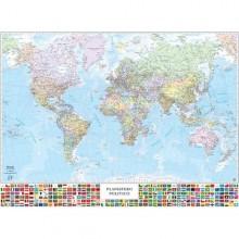 Carta Geografica Murale Planisfero C/Bandiere 132X97Cm Belletti