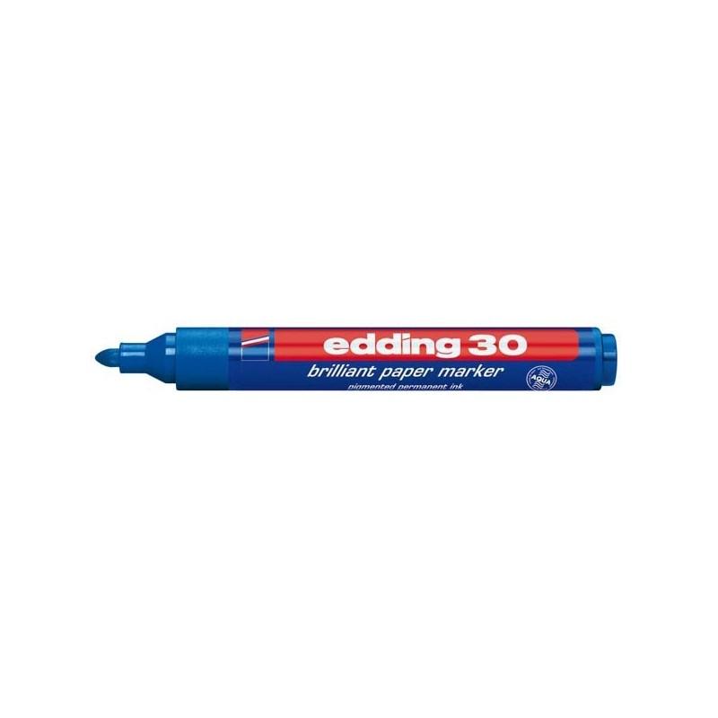 Marcatore Edding 30 Permanente Punta Tonda Blu