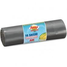 10 Sacchi Immondizia 70X110Cm 120Lt Hd 16µ Grigio Logex