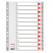 Separatore in PPL grigio numerico 1-12 A4 22,5x29,7cm ESSELTE (conf. 10 )