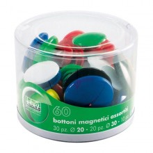 Barattolo 60 Magneti Tondi Assortiti Art.2777