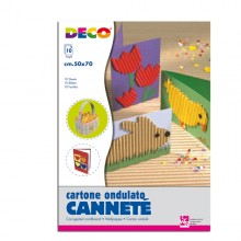 Set 10Fg Cartoncino Ondulato 50X70Cm Cannete' Colori Assortiti Cwr