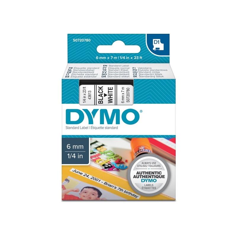 Nastro Dymo Tipo D1 (6Mmx7Mt) Nero/Bianco 436130