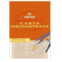 BLOCCO CARTA OPACA MILLIMETRATA 230x330mm 10FG 80GR CANSON (conf. 25 )