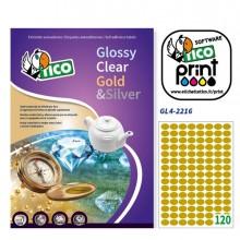 Etichetta Adesiva Gl4 Ovale Oro Satinata 100Fg A4 22X16Mm (120Et/Fg) Tico