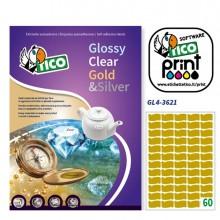 Etichetta Adesiva Gl4 Ovale Oro Satinata 100Fg A4 36X21Mm (60Et/Fg) Tico