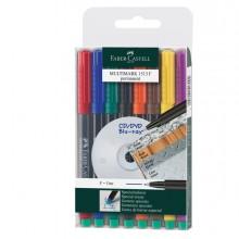 Busta 8 Colori Pennarello Multimark 0,6Mm Fine Faber-Castell