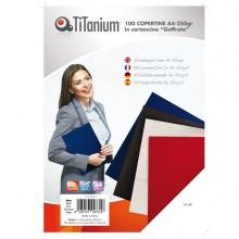 100 Copertine A4 Cartoncino Goffrato 250G Nero Titanium