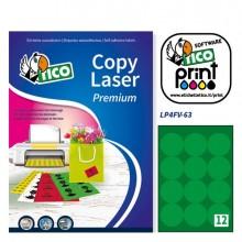 Etichetta Adesiva Lp4F Verde Fluo 70Fg A4 Tonda Diam63,5Mm (12Et/Fg) Tico