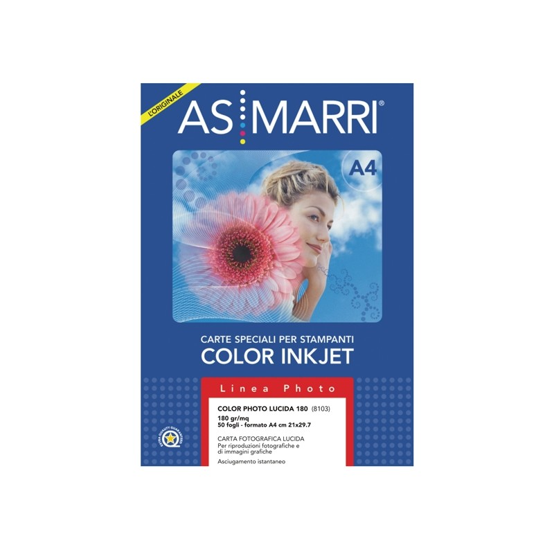 Carta Inkjet A4 180Gr 50Fg Color Photo Lucida 08103 Marri