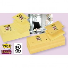 BLOCCO 90foglietti Post-it®Super Sticky Z-Notes Canary™76x127mm R350-123SS-CY (conf. 12 )