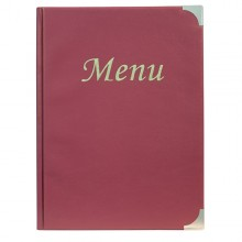 Porta Menu' A4-24X34Cm Bordeaux In Pvc Basic Con 4+2 Buste Fisse