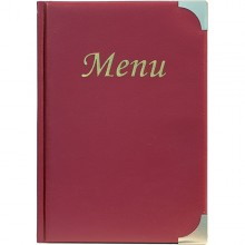 Porta Menu' A5-18X25Cm Bordeaux In Pvc Basic Con 4+2 Buste Fisse
