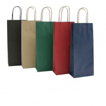 20 Shoppers Carta Biokraft 14X9X38Cm Portabottiglie Blu