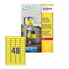 Poliestere Adesivo L6103 Giallo Fluo 20Fg A4 45,7X21,2Mm (48Et/Fg) Laser Avery
